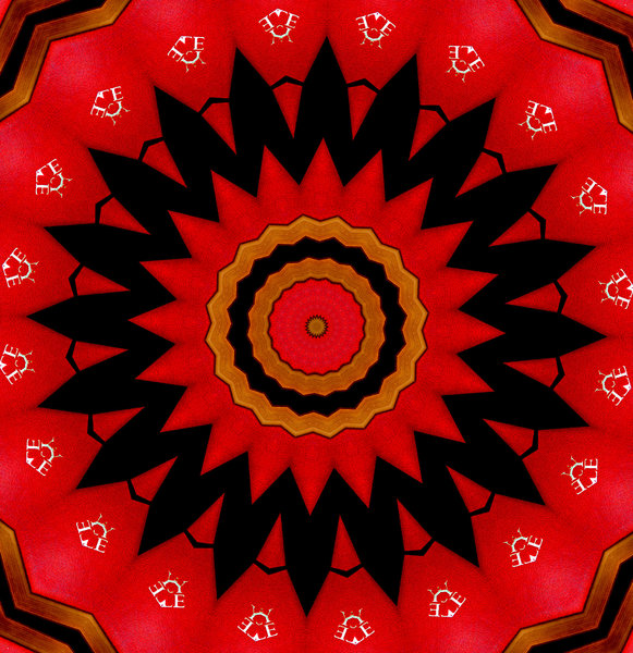 radiating red and black: backgrounds, textures, patterns, kaleidoscopic patterns,  circles, shapes and  perspectives from altering and manipulating green corner door images