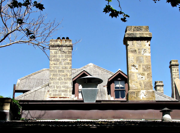 rooftops & chimneys: historic buildings, roofs with old style chimneys
