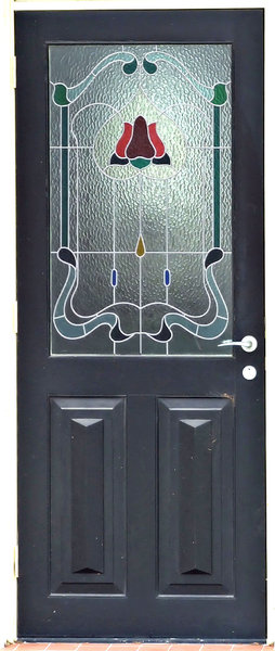 door glass: door with art glass/textured stained glass