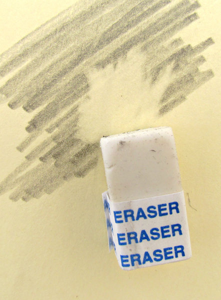 eraser 3: a rubber, eraser, removing pencil marks