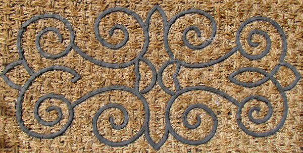 doormat design: fibre doormat with rubber inlaid pattern