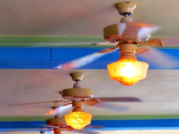 ceiling light fans1: undercover area with swirling light fanes