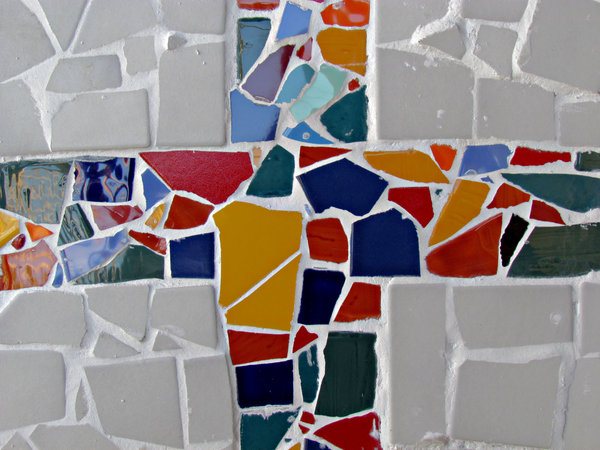 mosaic cross2: colourful broken tile chips mosaic work