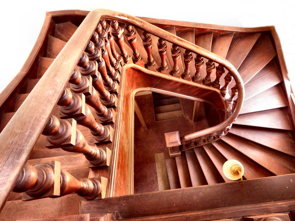 staircase angles1: wooden staircase in old historic rural building
