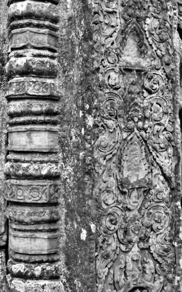 temple decorations2B: artistic decorative carvings at Cambodia's Angkor Wat temple complex