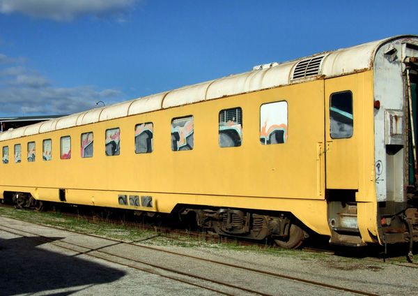 yelloiw carriage1: historic railway carriage under restoration
