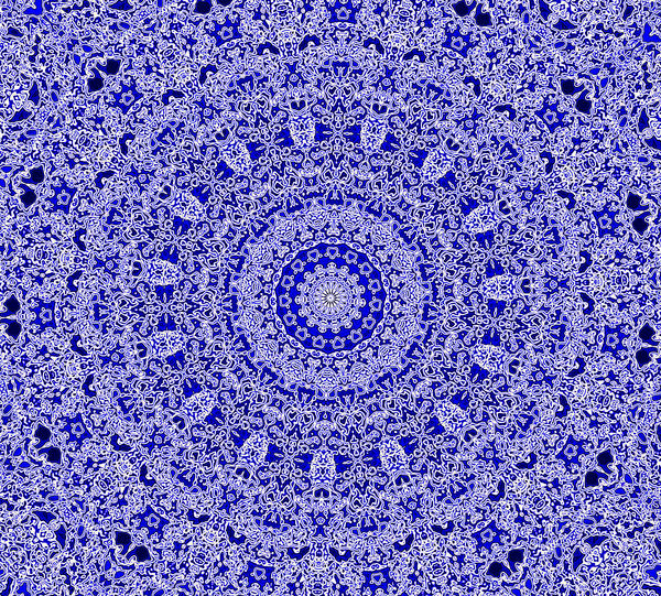 blue & white doilie mandala: lace-like abstract background, textures, patterns, geometric-patterns, kaleidoscopic-patterns, circles, shapes and perspectives
