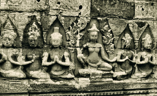 temple dancers18: artistic carvings of temple dancers at Cambodia's Angkor Wat temple complex