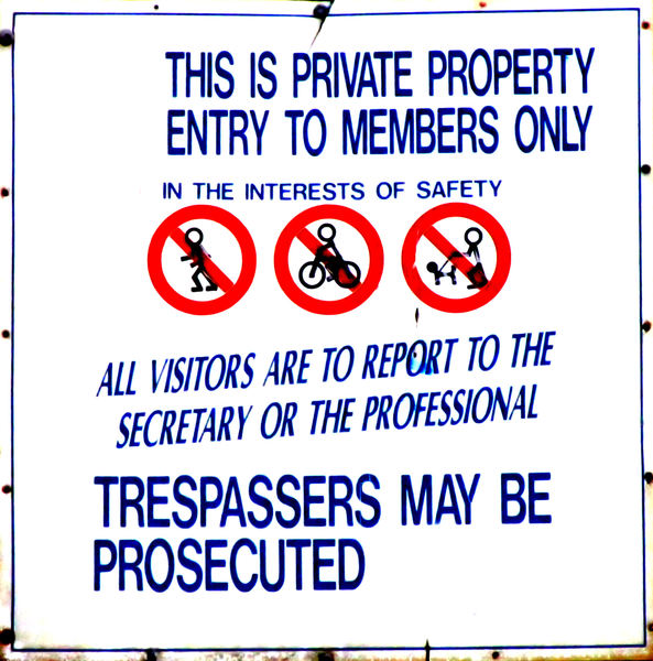 private property: private property warning sign