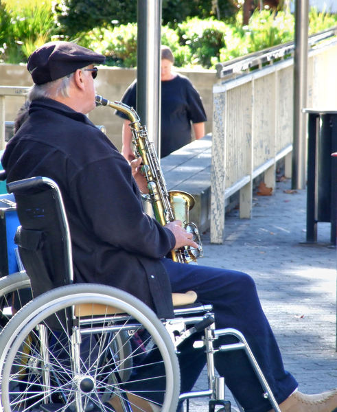 wheelchair musiciian1b: disabled wheelchair saxophonist