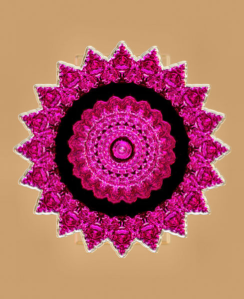 rose glass mandala2: abstract background, texture, kaleidoscopic pattern and perspectives