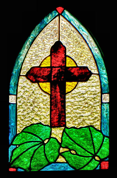 arched glass colour1B: Christian art glass window symbol