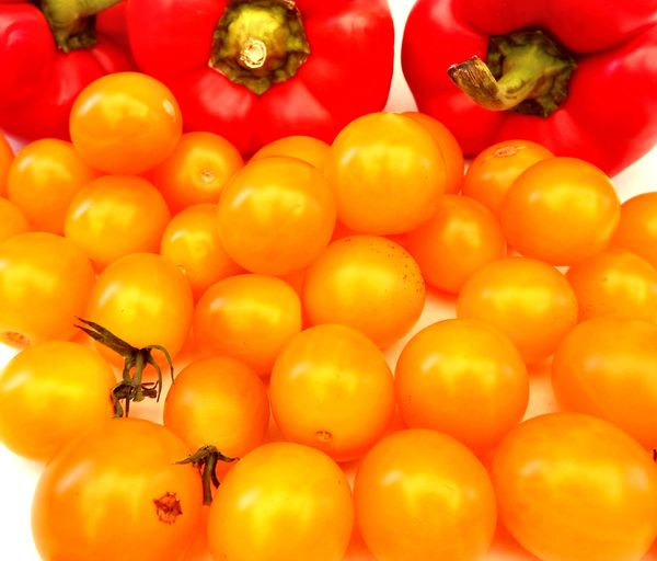 orange and red3: red capsicums and orange cherry tomatoes