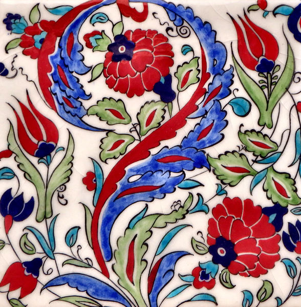 glazed floral turkish tiles1: glazed turkish ceramic  tiles depicting flowers including tulips
