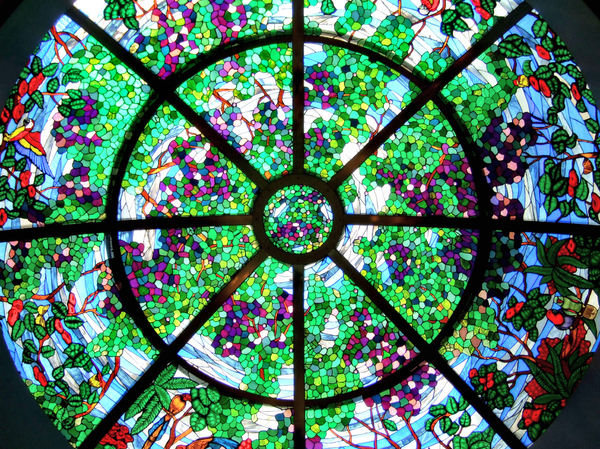 colorful domed skylight1: colourful circular domed stained glass window skylight