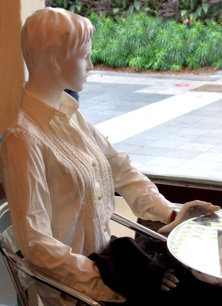 waiting by the window1: attention-getting fashion mannequin in window display
