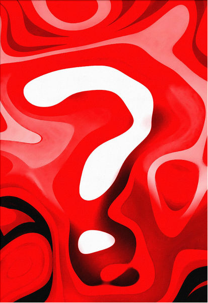 questionably in the red3pp: painted style red & white abstract question mark background, texture, patterns and perspectives