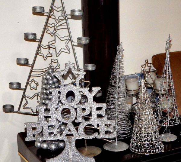 silver trees @ Christmas1: miniature table top metal Christmas trees and candle holders with Christmas message