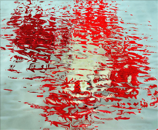 painted red river reflections1: painting of red reflections on river water surface
