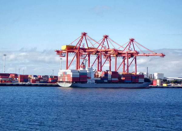 container cargoes: international container terminal  with container ship