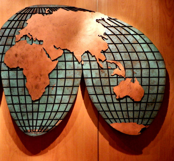 highlighted world map2: highlighted partial world map wall display