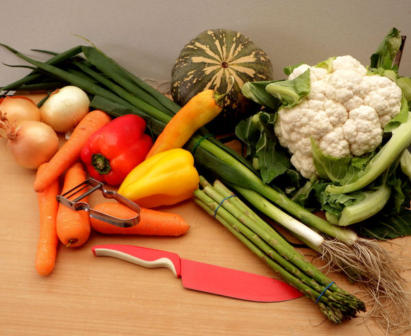 kitchen vegetable board1: variety of fresh vegetables before preparation and cooking