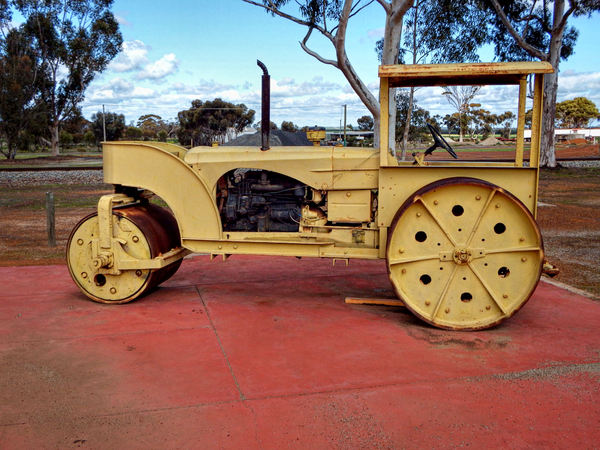 historic road roller: historic heavy duty diesel rural area road roller