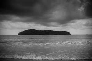 Tropical island: Tropical island black & white photo