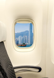 Airplane window: Hong Kong view