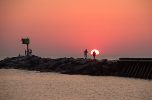 Sunset on Lake Michigan: Harbor jetty on Lake Michigan at New Buffalo, Michigan