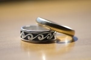 Rings of Power: Sorry for the lame title. My wedding band and pinky finger ring.