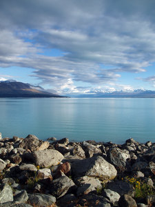 Lake Pukaki: View looking out over Lake Pukaki, New Zealand. December 28, 2006.
