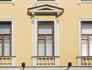 Fine Window: Fine window, decorated with portico and balustrade