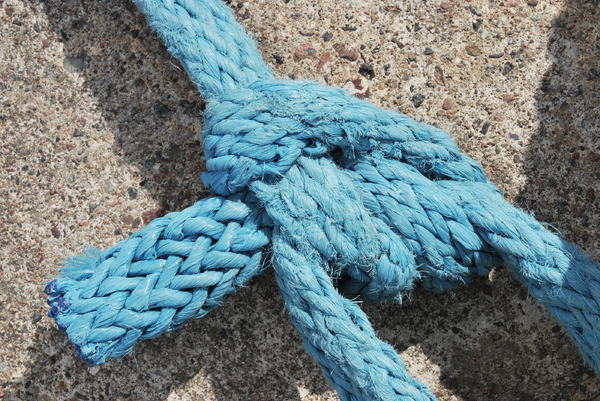 Knot: Knot bend on blue synthetic rope
