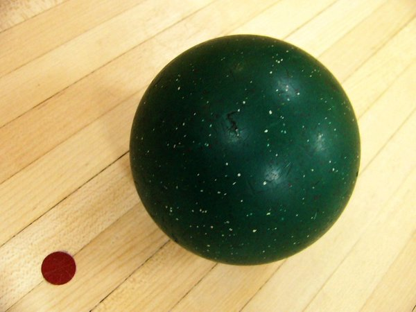 Candle Pin bowling ball: Candle Pin bowling ball on lane