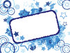 Grunge Card: Invitation card or label.  Grungy stars, circles, paint and splats background.  Blue theme.  Lots of copy space,