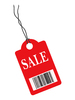 Red Sales Tag: Sale tag with bar code.