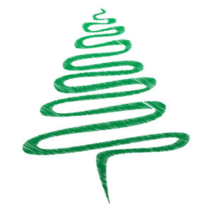 Green Scribble Xmas Tree: Abstract Christmas tree, green over white.