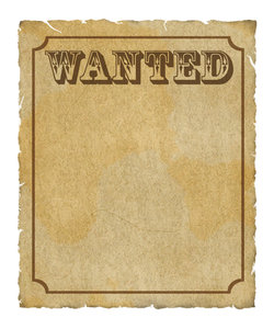 Wanted Poster: Grungy parchment poster:  Wanted with border.  Lots of copy space.