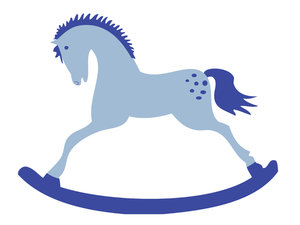 Blue Rocking Horse: Rocking horse - blue for a boy. Isolated over white.