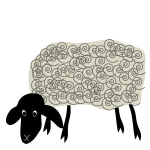 Munching Sheep: Cute cartoon sheep.