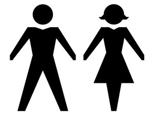 Gender Icons: Male and female icons in silhouette.