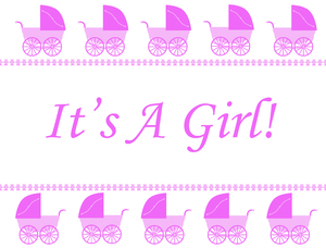 It's A Girl! 2: A border with pink retro prams on a white background.  Lots of copy space.