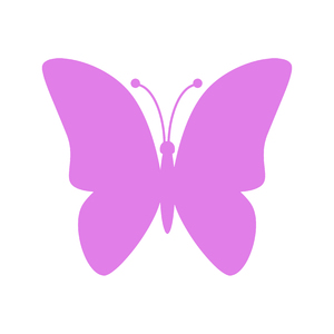 Pink Butterfly Icon: Pink butterfly icon on white background
