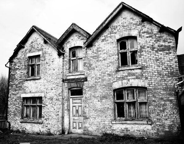 Haunted House 4: High contrast b&w image of a derelict and rather spooky farmhouse.