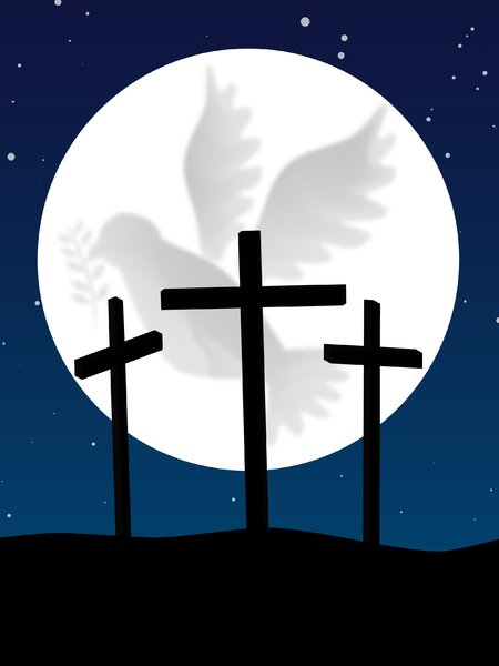 Calvary: The three crosses silhouetted over a moon with dove of peace crater detail.