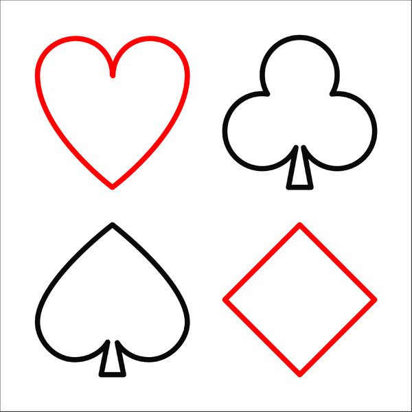 Playing Card Suits: Playing card suit outlines on white.