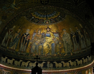 Santa Maria Di Trastevere: Founded in 4th century, restored in 8th and rebuilt as now in 12th century by Pope Innocent II. It probably was the first church in Rome where Mass was celebrated openly. The pictured mosaics are dating back to the 12th century. Thorough Info can be found