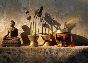 Tools of the trade...: Tools of the trade at dawn in a monastery in Laos.