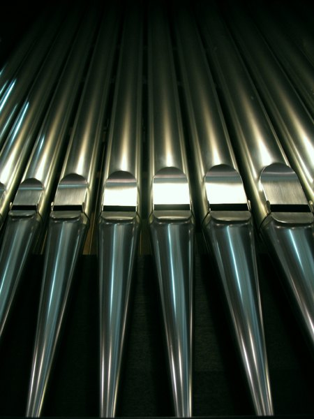 Organ pipes: Pipes of an organ in row/line.